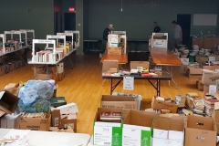 It began with donations and piles of books like this on site.