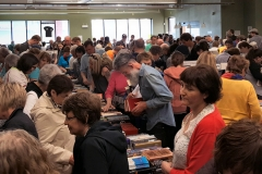 The room was packed as people sifted through thousands of books.