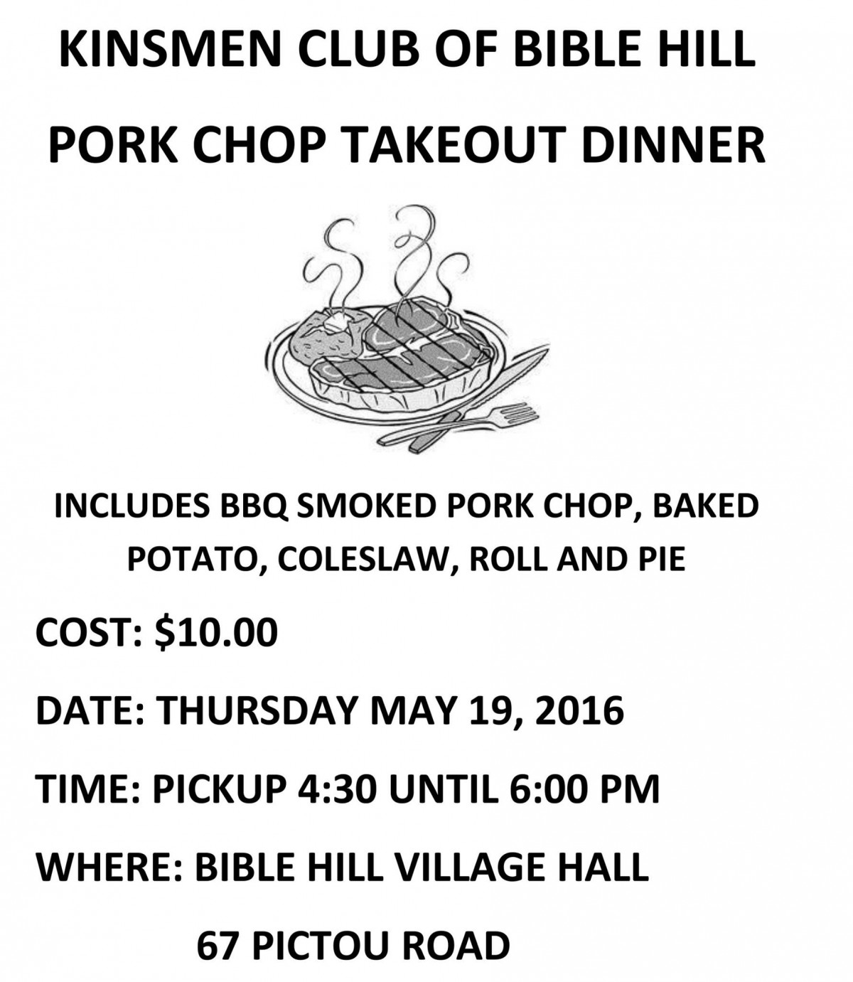 Pork Chop Dinner Tickets Available